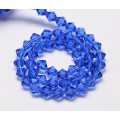 Medium Blue Glass Beads, 6x6mm Faceted Bicone