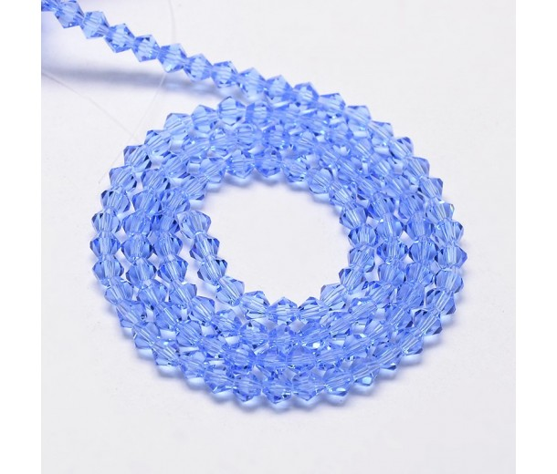 Light Sapphire Blue Glass Beads, 6x6mm Faceted Bicone