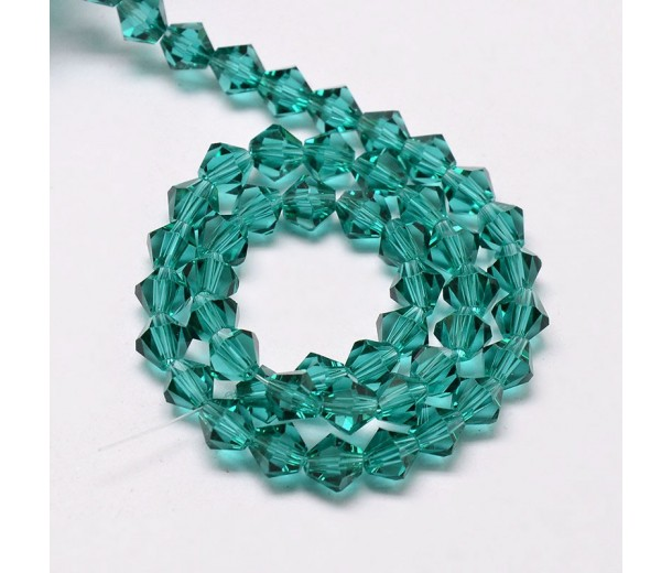Teal Green Glass Beads, 4x4mm Faceted Bicone