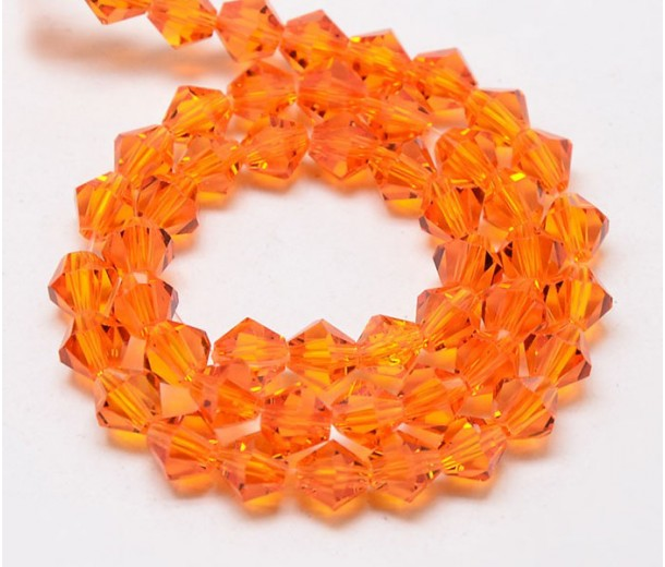 Bright Orange Glass Beads, 6x6mm Faceted Bicone