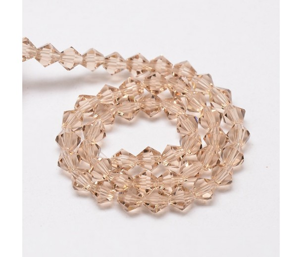 Beige Glass Beads, 4x4mm Faceted Bicone