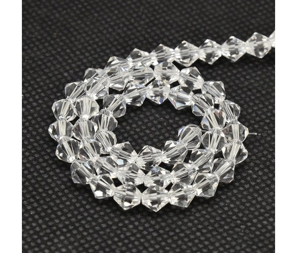 Crystal Glass Beads, 4x4mm Faceted Bicone
