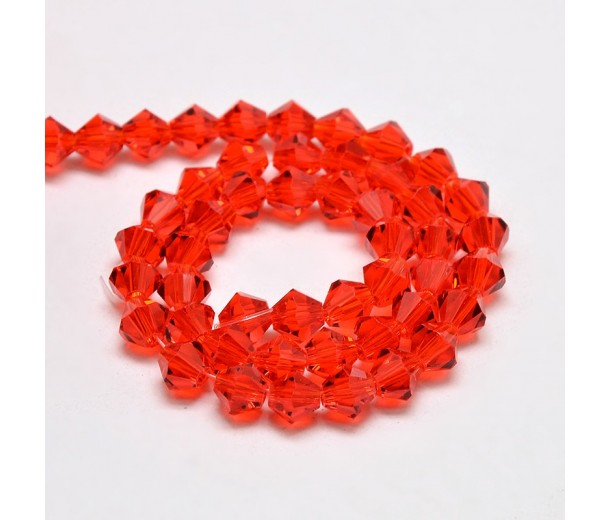 Red Orange Glass Beads, 4x4mm Faceted Bicone