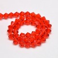 Red Orange Glass Beads, 6x6mm Faceted Bicone