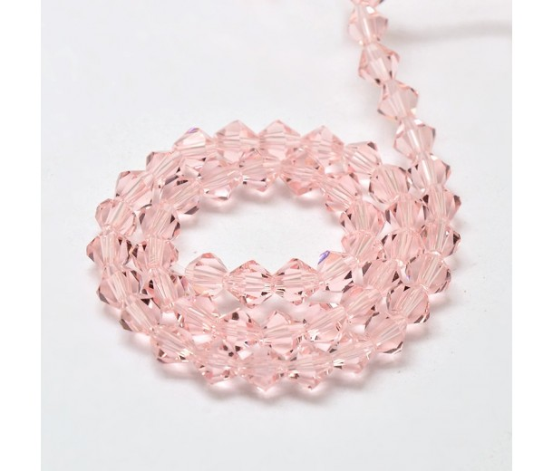 Blush Pink Glass Beads, 6x6mm Faceted Bicone