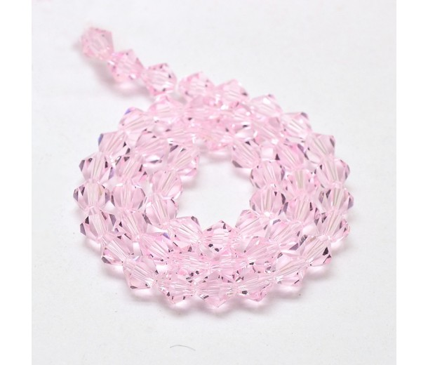 Rose Pink Glass Beads, 6x6mm Faceted Bicone