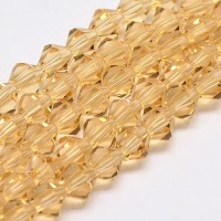 Light Topaz Yellow Glass Beads, 6x6mm Faceted Bicone