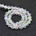 Crystal AB Glass Beads, 4x4mm Faceted Bicone