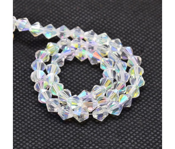Crystal AB Glass Beads, 6x6mm Faceted Bicone