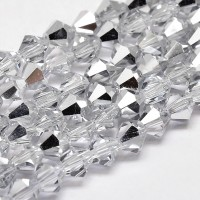 -Crystal Silver Glass Beads, 6x6mm Faceted Bicone