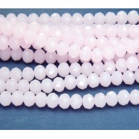 Milky Rose Pink Glass Beads, 8x6mm Faceted Rondelle
