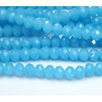 Milky Aqua Blue Glass Beads, 8x6mm Faceted Rondelle
