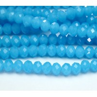 Milky Sky Blue Glass Beads, 8x6mm Faceted Rondelle