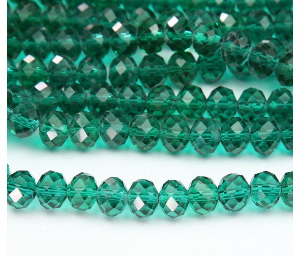 Teal Glass Beads, 8x6mm Faceted Rondelle