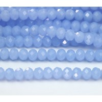 Milky Periwinkle Blue Glass Beads, 8x6mm Faceted Rondelle