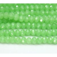 Milky Lime Green Glass Beads, 8x6mm Faceted Rondelle