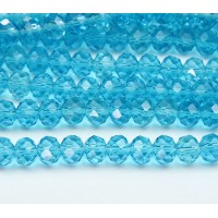 Aquamarine Glass Beads, 8x6mm Faceted Rondelle