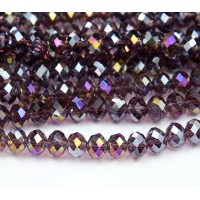 -Amethyst Purple AB Glass Beads, 8x6mm Faceted Rondelle