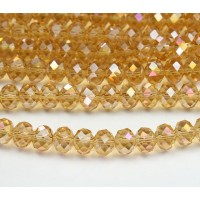 Honey Yellow AB Glass Beads, 8x6mm Faceted Rondelle