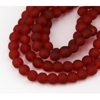 Terracotta Red Frosted Glass Beads, 8mm Smooth Round