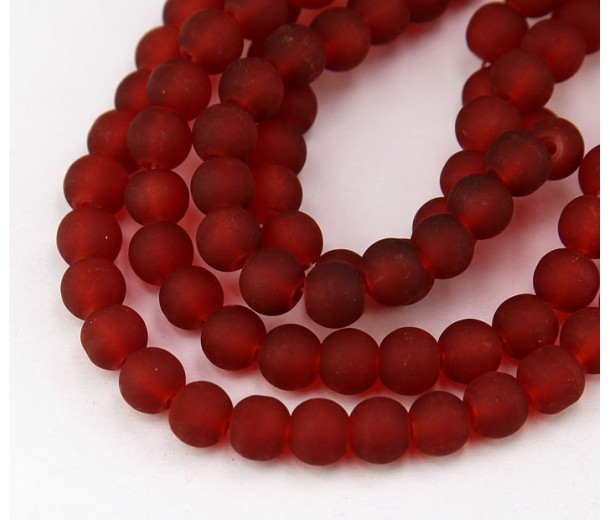 Terracotta Red Frosted Glass Beads, 6mm Smooth Round