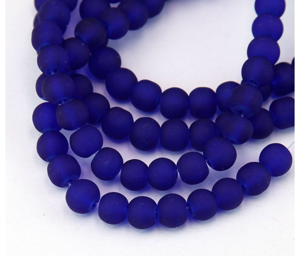 Dark Blue Frosted Glass Beads, 6mm Smooth Round