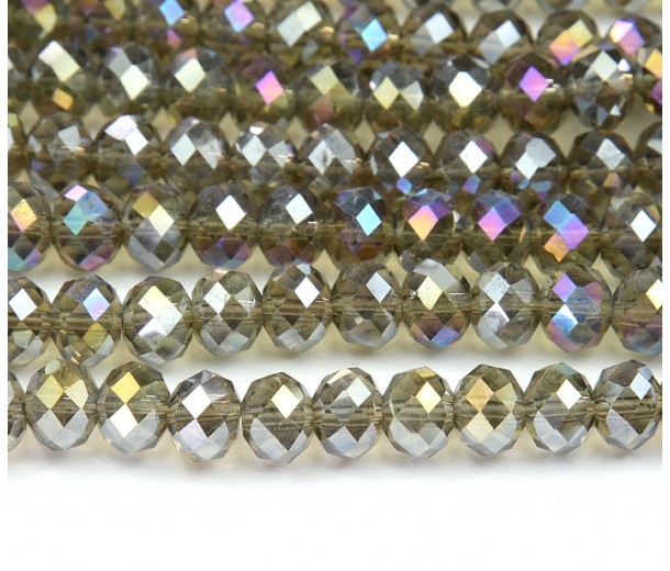 Black Diamond AB Glass Beads, 8x6mm Faceted Rondelle