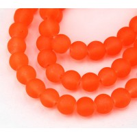 Neon Red Orange Frosted Glass Beads, 8mm Smooth Round