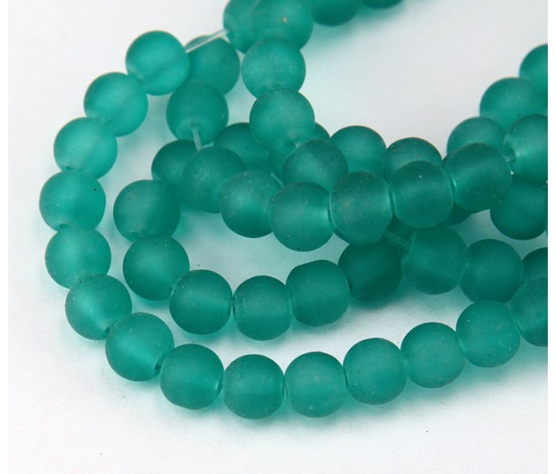 Teal Frosted Glass Beads, 6mm Smooth Round