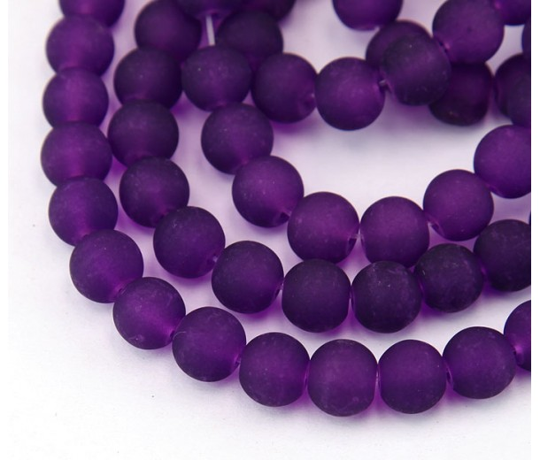 Dark Orchid Frosted Glass Beads, 6mm Smooth Round