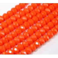 -Bright Orange Glass Beads, 8x6mm Faceted Rondelle