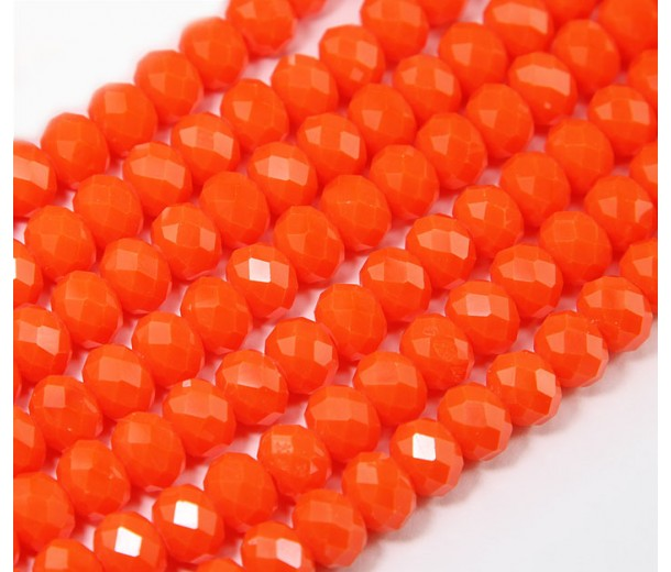 Bright Orange Glass Beads, 8x6mm Faceted Rondelle