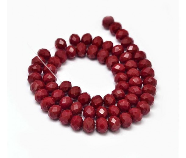 Dark Red Glass Beads, 8x6mm Faceted Rondelle