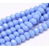 Opaque Blue Glass Beads, 8x6mm Faceted Rondelle