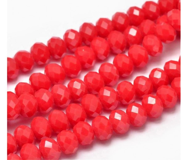 Bright Red Glass Beads, 8x6mm Faceted Rondelle