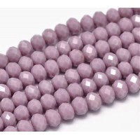 Mauve Purple Glass Beads, 8x6mm Faceted Rondelle