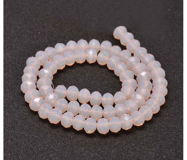 Light Pink Glass Beads, 8x6mm Faceted Rondelle