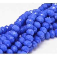 Royal Blue Glass Beads, 8x6mm Faceted Rondelle