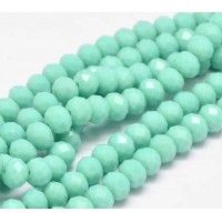 -Opaque Light Teal Glass Beads, 8x6mm Faceted Rondelle