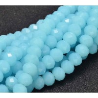 Baby Blue Glass Beads, 8x6mm Faceted Rondelle