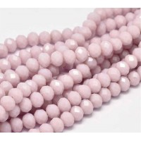 Opaque Rose Glass Beads, 8x6mm Faceted Rondelle