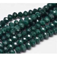 -Dark Green Glass Beads, 8x6mm Faceted Rondelle