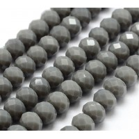 Medium Grey Glass Beads, 8x6mm Faceted Rondelle