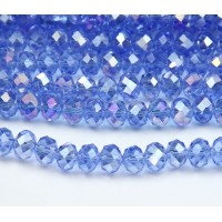 Light Sapphire AB Glass Beads, 8x6mm Faceted Rondelle