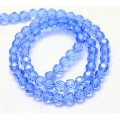 Light Sapphire Glass Beads, 8mm Faceted Round