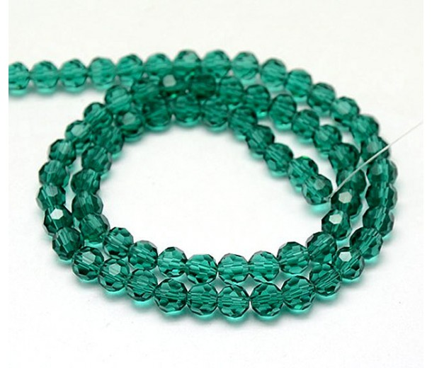 Teal Glass Beads, 8mm Faceted Round
