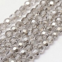 Light Grey Glass Beads, 8mm Faceted Round