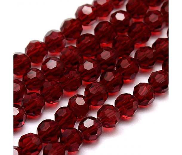 Dark Red Glass Beads, 8mm Faceted Round