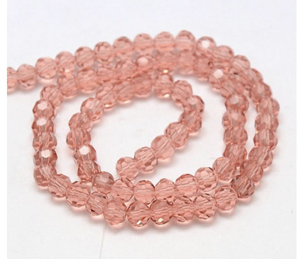 Blush Pink Glass Beads, 8mm Faceted Round