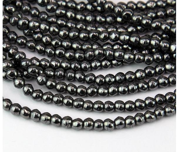 Hematite Czech Glass Beads, 3mm English Cut Round